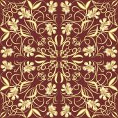 Decorative vintage tile with golden floral swirl patterns in art deco style — Vector de stock
