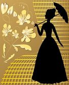 Lady silhouette with golden vintage flowers on golden grid — Stock Vector