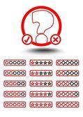 Set quiz elementen - quiz embleem en knop om te selecteren van moeilijkheid — Stockvector