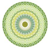 Green mandala for energy and power obtaining. Rich patterned mandala for meditation training. Filigree lace patterns on green circle background. EPS 10 vector. — Stock Vector