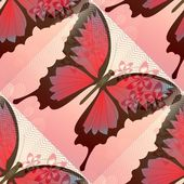 Romantic pink and red background with blended butterfly and small flower motif — Stock Photo