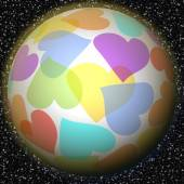 Romantic fantasy planet with rainbow heart motif on background with galaxy stars. Symbol of peace, love, happiness, luck, welfare. — Zdjęcie stockowe
