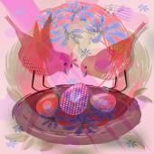 Priorità bassa graziosa con gli uccelli svegli rossi di nido con le uova — Foto Stock
