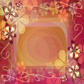 Fantasia muito fundo com padrões florais de mistura. Telha de abstrato em vermelho e amarelo. Lugar para o próprio texto - convite, anúncio, mensagem — Fotografia Stock