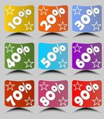 Set of cambered paper labels with percent in different colors with stars and shadow. For use in discount action, special discount offer,  sale or in infographic and marketing design — Stock Vector