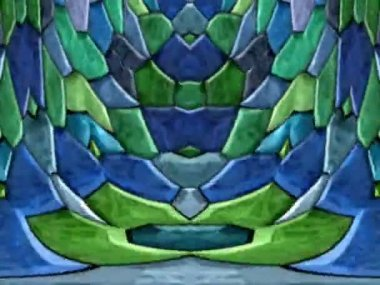 Kaleidoscopic colorful fragment mosaic with a horizontal mirror effect — Stock Video