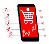 Smartphone with shopping cart, buy it inscription designed as shopping list with lines and numbers — Stock Vector
