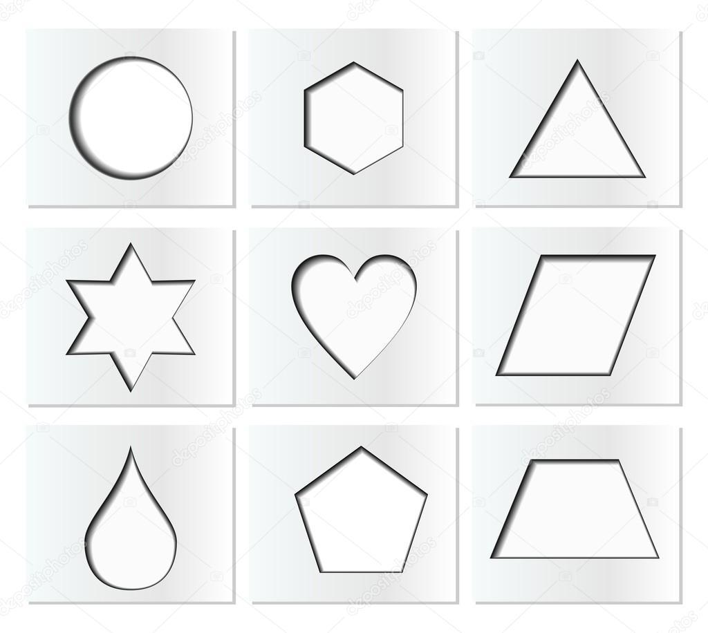 vorlage f r einfache geometrische formen mit innerer schatten kreis sechseck dreieck stern. Black Bedroom Furniture Sets. Home Design Ideas
