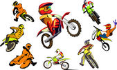 Off road Motorcycle, vector set — Stock Vector