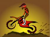 Motorcycle rider on off road — Stock Vector