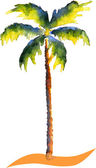 Watercolor Palm tree — Stock Vector