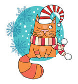 Christmas cat — Stock Vector