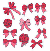 Set of different ribbons and bows — Stockvector