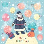 Santa and gifts — Stock Vector