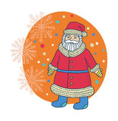 Santa with snowflakes — Stock Vector