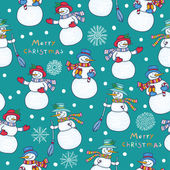 Pattern with snowmen — Stock Vector
