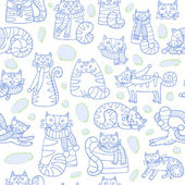 Pattern with cats — Stock Vector