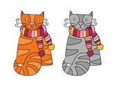 Cats in scarfs — Stock Vector