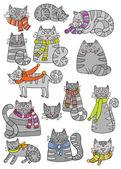 Grey cats — Stock Vector