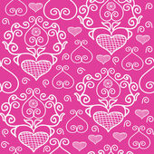 Pattern with lace hearts — Stock Vector