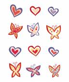 Hearts and butterflies — Stock Vector