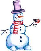 Snowman with bullfinch — Stock Vector
