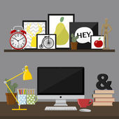 Office interior with computer — Stock Vector