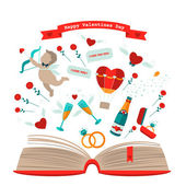 Valentines day book with cupid — Stock Vector