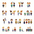 Family figures flat icons set — Stock Vector #62686527