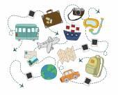 World travel concept backgrounds set. — Stock Vector