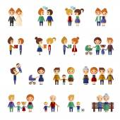 Family figures flat icons set — Stock Vector