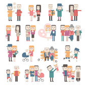 Set of vector images of couples — Stock Vector
