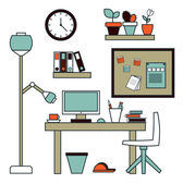 Modern creative office workspace with computer. — Stock Vector