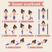 Women sport and fitness infographics. — Vector de stock