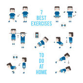 Set exercises without training apparatus — Stock Vector