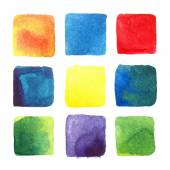 Variegated watercolor squares — Stock Vector