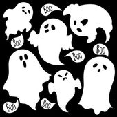 Various spooky ghosts — Stock Vector