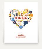 Music Heart set — Stock vektor