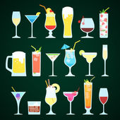 Set of summer cocktails. — Stock Vector
