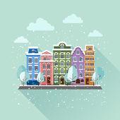 City in winter at day — Vecteur