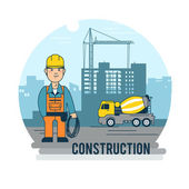 Worker on the construction site — Stock Vector