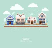 Buildings in snow at winter — Wektor stockowy