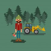Lumberjack with axe in the forest — Stockvector
