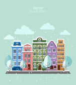 City in winter at day — Stock Vector