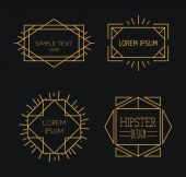 Set of linear badges — Stock Vector
