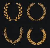 Laurel Wreaths on black — Stockvector