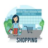 ショッピング バッグを持つ女性 — ストックベクタ