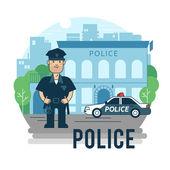 Concept policeman at work — Stock Vector