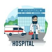 Médico está en la imagen de hospital. — Vector de stock