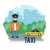 Taxi driver waiting at the car. — Stock Vector